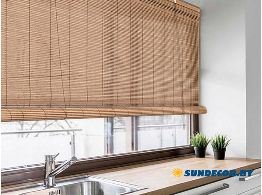 Римские бамбуковые шторы на кухню