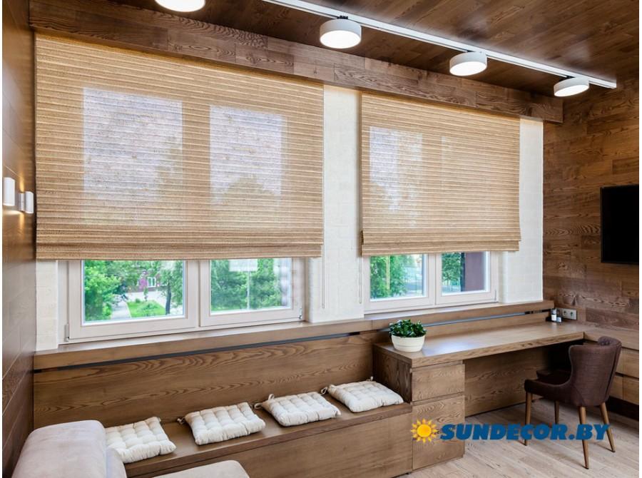 Римские бамбуковые шторы в гостиную